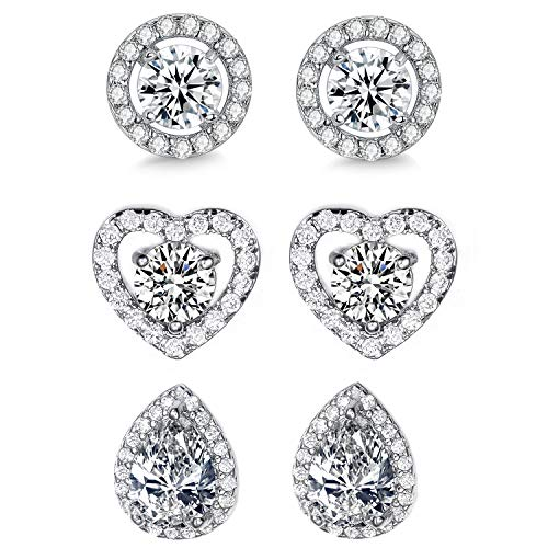 EEPIRR Cubic Zirconia Stud Earrings For Women Girls, Heart & Round & Water Drops AAA+ CZ Post Earrings, White Gold Plated Ear Studs Jewelry 3 Pairs -