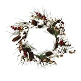 Artificial Cotton Wreath Thanksgiving Autumn Christmas Front Door Cotton Wreath with Berry,Pine Cone