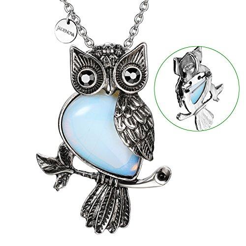 JADENOVA Antique Owl Brooch Pin Pendant Necklace Energy Healing Crystal Gemstone Rhinestone 20