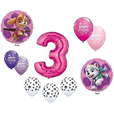 GIRL'S PAW PATROL Dog 3rd #3 THIRD Pink 10 Piece Birthday Party Mylar Latex Balloons Set...Plus (1) 66' Roll of Curling Balloon Ribbon: Toys & Games