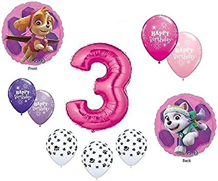 GIRLS PAW PATROL Dog 3rd #3 THIRD Pink 10 Piece Birthday Party Mylar Latex Balloons Set...Plus (1) 66 Roll of Curling Balloon Ribbon