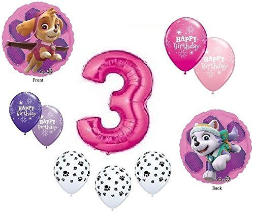 GIRL'S PAW PATROL Dog 3rd #3 THIRD Pink 10 Piece Birthday Party Mylar Latex Balloons Set...Plus (1) 66' Roll of Curling Balloon Ribbon