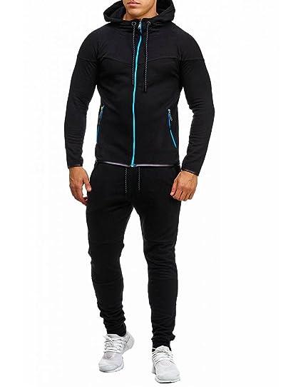 16dae6af3b542 Violento - Survêtement Complet Homme Noir Zip Bleu - Noir - XL ...