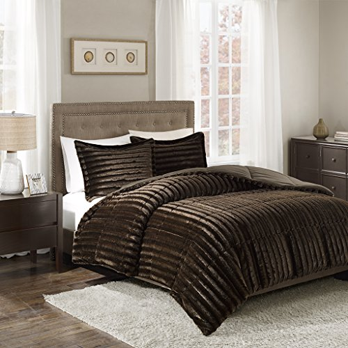 Madison Park Duke King/Cal King Size Bed Comforter Set - Chocolate, Solid - 3 Pieces Bedding Sets - Faux Fur Plush Bedroom Comforters