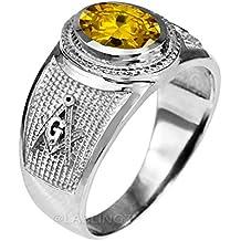 Sterling Silver Masonic November Birthstone Yellow CZ Ring