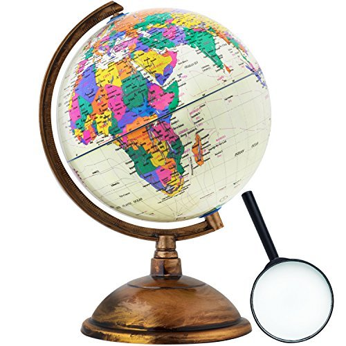 World Globe - Antique Decorative in Style - 12 inch in Total Size with a Magnifying Glass - Kids Educational Learning Toy Engaging Children - Old World Style with a (Name That State Series)