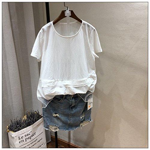 Xmy Dame de l'été vent vers le bas couture swing-col rond t-shirts femmes T-shirt code est