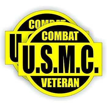 USMC Combat Veteran Hard Hat / Helmet Sticker Decal Label