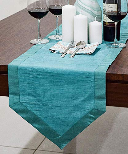 l Round Table Runners (Faux Silk, V-End Border, 14x48 inch, Pack of 1) ()