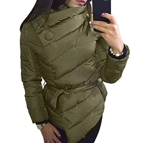 Tongshi Mujer Calentar Invierno Capa Largo Manga Irregular Chaqueta Desgastar Abrigo ejercito verde