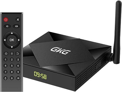 TV Box Android 10.0, GKG Android TV Box 4GB RAM 32GB ROM Allwinner H616 Quad-core Dual-WiFi 2.4G + 5G Soporte BT 4.1 USB 3.0 Ethernet 4K 3D Smart TV Box [2020 Versión]: