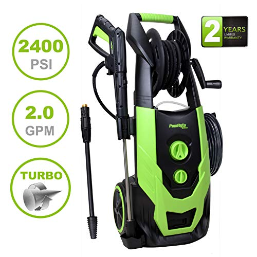 PowRyte Elite 2400 PSI 2.0 GPM Brushless Induction Motor Electric Pressure Washer, Power Washer with Hose Reel, Adjustable Spray Nozzle and Extra Turbo Nozzle