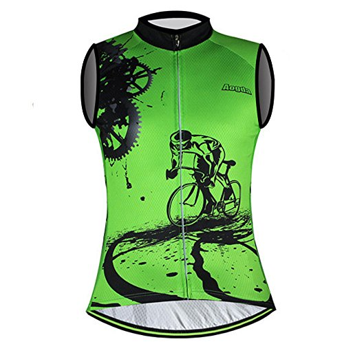 - Sleeveless Cycling Jersey Aogda Men Bicycle Bike Shirts Vest Clothing Biking Bicycle Bib Shorts (Green Vest Jerseys, XL)