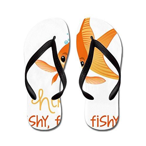 Cafepress Här Fishy - Flip Flops, Roliga Rem Sandaler, Strand Sandaler Svart