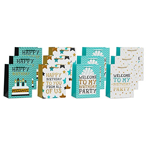 UNIQOOO 12 Pack Medium Size Happy Birthday Gift Bags– Premium Bulk Assorted 4 Designs Gift Bag with Handles – Perfect For Birthday, Wedding, Christmas, New Year, Housewarming and Party - Macy's Purchase With Gift