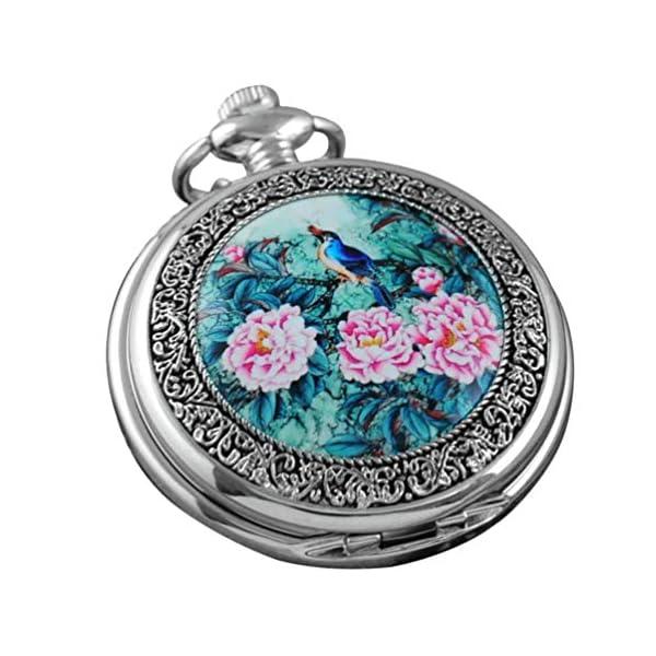 VIGOROSO Quartz Beautiful Peony Bird Enamel Painting Steampunk Silver Pocket Watches Gift Box