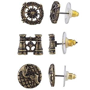 Lux Accessories Burnish Gold Tone Steampunk World Traveler Stud Multi Pack 3PR