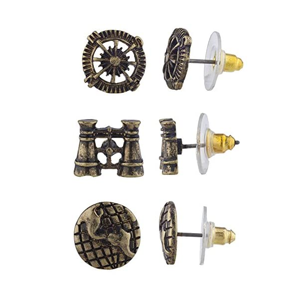 Lux Accessories Burnish Gold Tone Steampunk World Traveler Stud Multi Pack 3PR 3