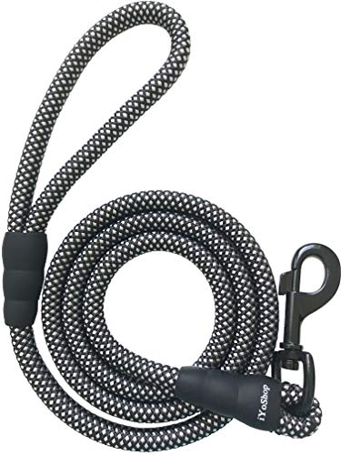 """iYoShop Strong Dog Leash 6 Feet Training Rope Leash, 3/8 Inch Thick 6 FT Long, Quality Thick Nylon Rope, Soft Handle Sturdy Pet Training Lead Small Medium Large Dogs (3/8"""" X 6', Black/White)"""