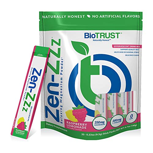 BioTrust Zen-Zzz Relaxing Magnesium Powder an Anti-Stress and Anti-Worry Beverage for a Fast Feelings of Calm and Serenity Anytime, Anywhere, Naturally Flavored Raspberry Lemonade (20 Stick Packs)