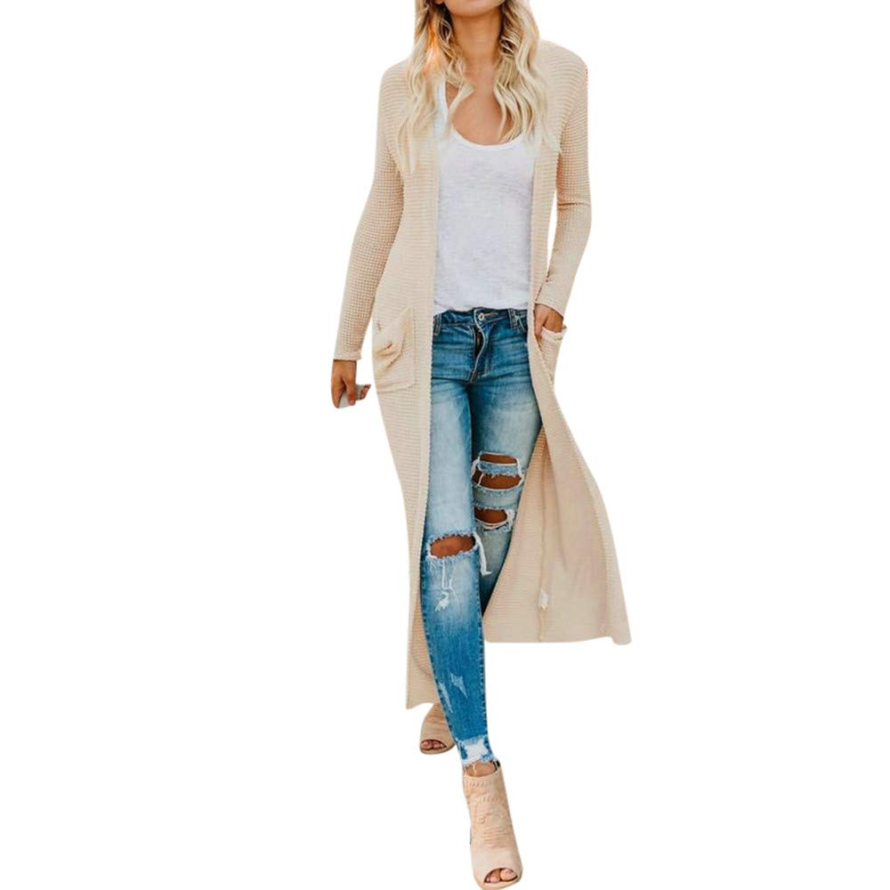 TOPUNDER Long Sleeve Cardigan Tops Womens Ladies Autumn Jacket Shirts with Pocket