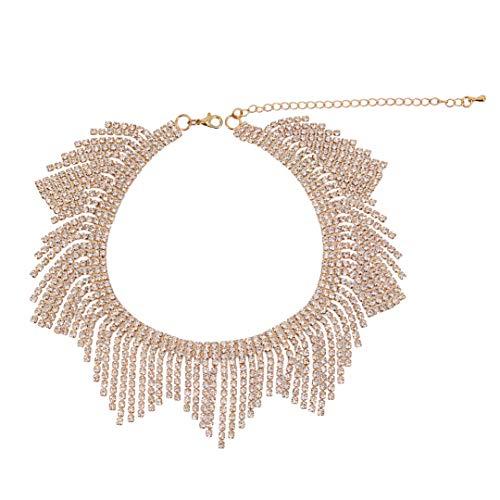 Gabrine Womens Girls Multilayer Hollow Collar Choker Short Necklace Fashion Shiny Rhinestone for Wedding Bridal Party Prom(Gold) (Collar Rhinestone Party)
