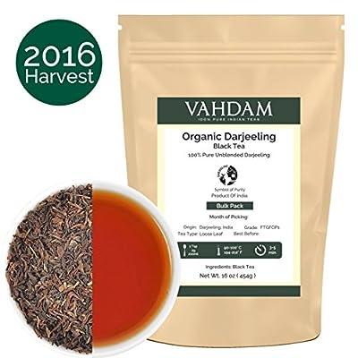 Organic Darjeeling Tea Leaves from the Himalayas (225 Cups), 2016 Prime Season Season Harvest , 100% Certified Pure Unblended Darjeeling Black Tea, Loose Leaf Tea, 16-Ounce Bag by Vahdam Teas