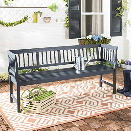 Safavieh PAT6732K Outdoor Collection Brentwood Dark Slate Grey and Beige Bench, Gray