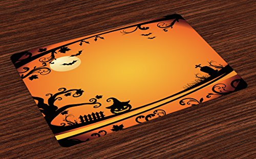 Lunarable Vintage Halloween Place Mats Set of 4, Halloween Themed Image Eerie Atmosphere Gravestone Evil Pumpkin Moon, Washable Fabric Placemats for Dining Table, Standard Size, Orange Black