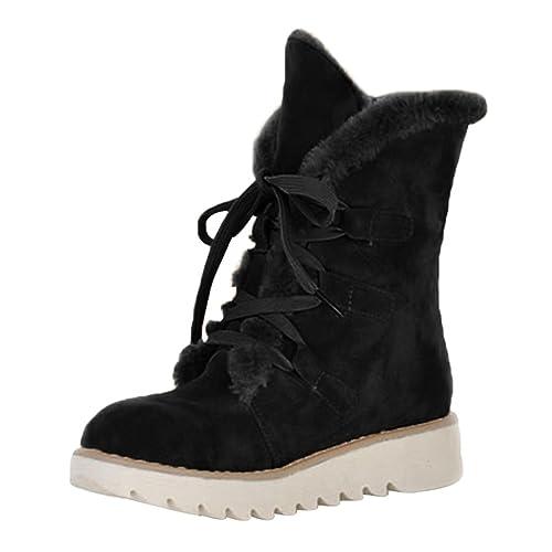 Anguang Mujer Invierno Tobillo Bota Forrado Botas Señoras Ata para Arriba Plano Zapatos Negro 35