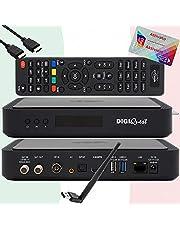 TiVuSat Kaart 4K UHD geactiveerd + DIGIQuest Q60 Combo Receiver 4K H.265 S2+T2 HEVC Set-Top Box, gecertificeerde TiVuSat Receiver met kaart, mediaspeler, webradio, USB PVR, 150Mbit WiFi, EasyMouse HDMI