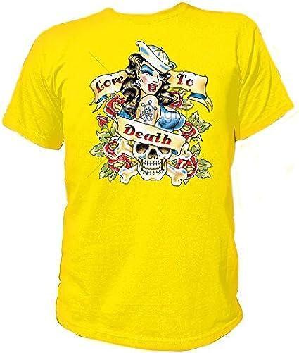Artdiktat T-Shirt Camiseta para Hombre - Love TO Death Tattoo - Pin Up Skull: Amazon.es: Ropa y accesorios