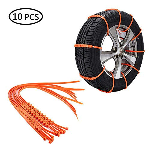 UMIWE 10 PCs Snow Tire Chains for SUV Trunks Car ATV Emergency Anti -Skid Wheel Tire Chains Reusable Driving Security Chains for All Seasons