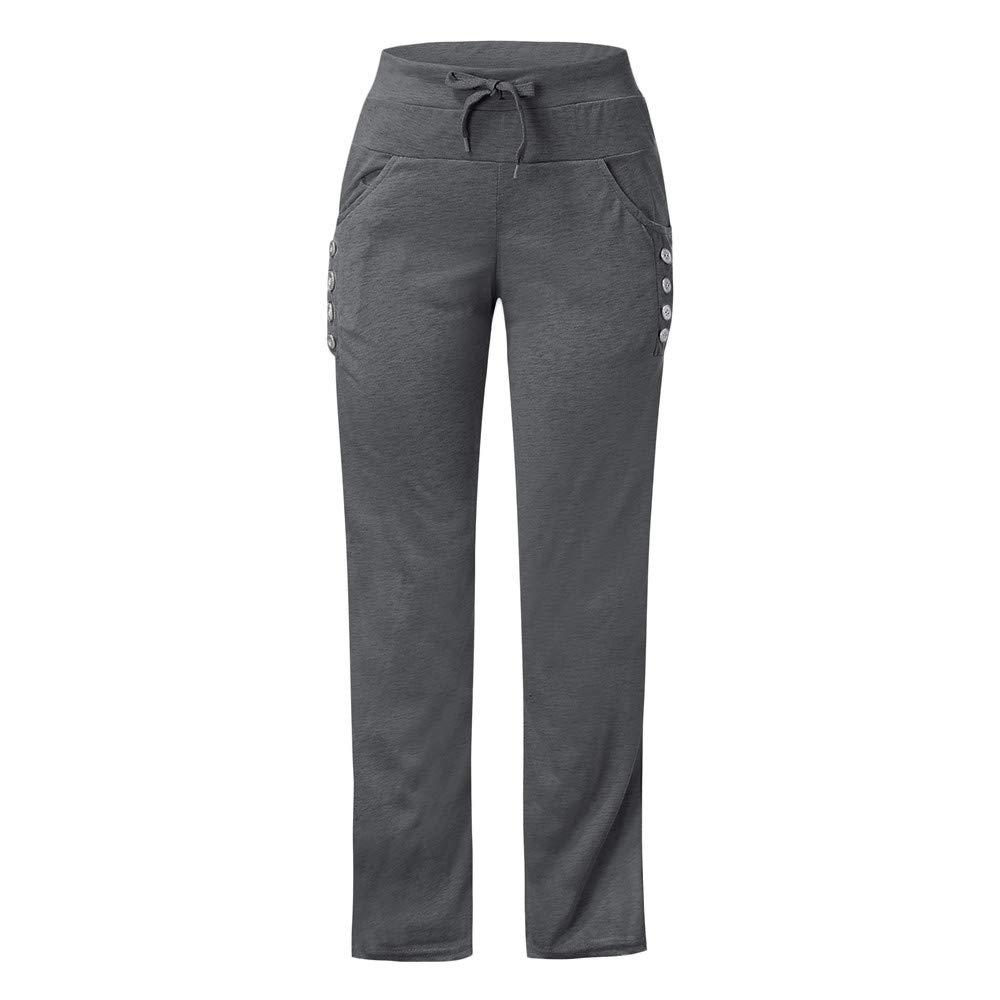 iDWZA Womens Autumn Winter Wide Leg Yoga Sports Loose Casual Long Pants Trousers