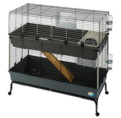 2 Storey Small Pet Cage Complete with Basic Equipment with Extra Space for Animals to Play Equipped with Rollers on the Base to Make it Easy to Move Around Suitable for Small Pets
