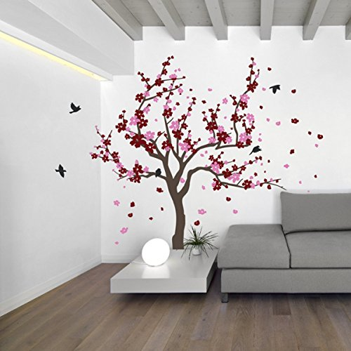 - Japanese Cherry Blossom Tree and Birds Wall Decal Sticker for Flower Baby Nursery Room Decor Art (Burgundy & Pink, 38x59 inches)
