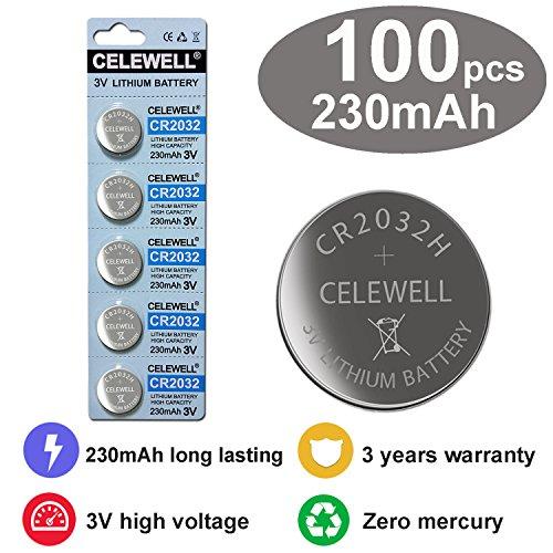 Coin Button (CELEWELL 100 CR 2032 3V Batteries CR2032 H 230mAh High Capacity Lithium Coin Button Cell)