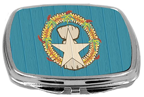 Rikki Knight Compact Mirror on Distressed Wood Design, Northern Mariana Islands Flag, 3 Ounce by Rikki Knight