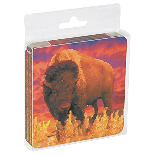 Tree-Free Greetings ECO Coasters Box Set of 4 Drink Coasters, 3.5 x 3.5 Inch, Sunset Buffalo  (EC96294) (3.5 Inch Buffalo)