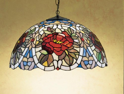 (Meyda Tiffany 27600 3 Light Renaissance Rose Large Pendant,)