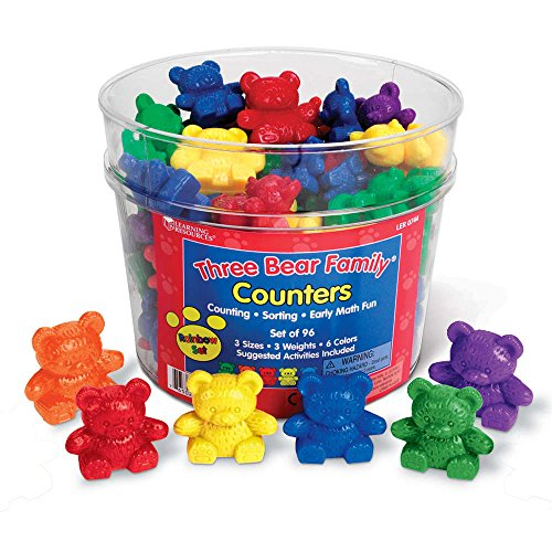 60 Rainbow Counting Bears with Color Matching Sorting Cups Set by ...