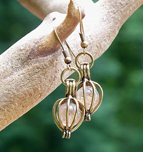 Recycled Antique Pink Depression Glass Brass Drop Earrings