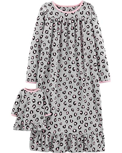 Carter's Girls Microfleece Nightgown and Doll Gown (6-7, Cheetah Print) ()
