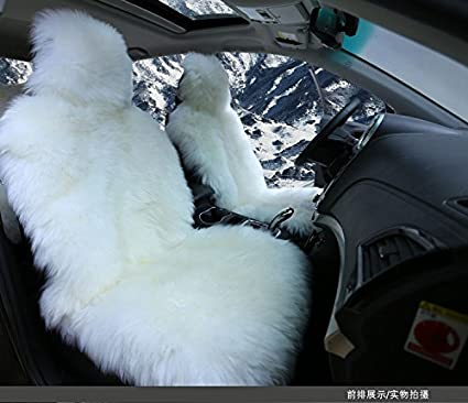 White Faux Sheepskin Seat Cover Sets Soft Long Wool Car Covers Full Set Ecological Tanning