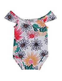 Baby Girls Swimwear Floral Daisy One-piece Swimsuit Beach Wear