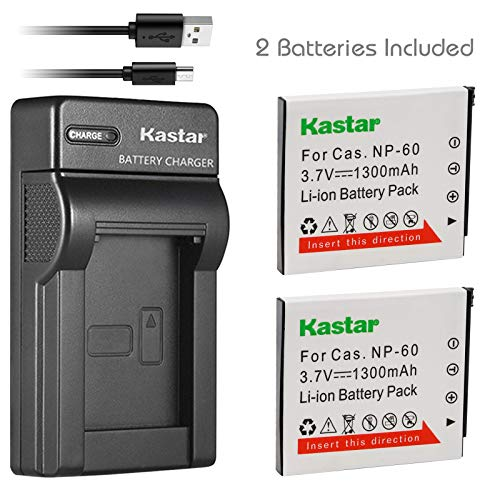 - Kastar Battery (X2) & Slim USB Charger for Casio NP-60 CNP60 Exilim Zoom EX-Z19 EX-Z19BK EX-Z19GN EX-Z19LP EX-Z19PK EX-Z19SR EX-Z20 EX-Z85VP EX-Z85 EX-Z85BE EX-Z85BK EX-Z85BN Digital Camera