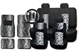 New and Exclusive Mesh Animal Print Accent Interior Set Gray Snow Leopard 15pc Seat Covers Front & Back Lowback, Back Bench, Steering Wheel & Seat Belt Covers - 4pc Floor Mats