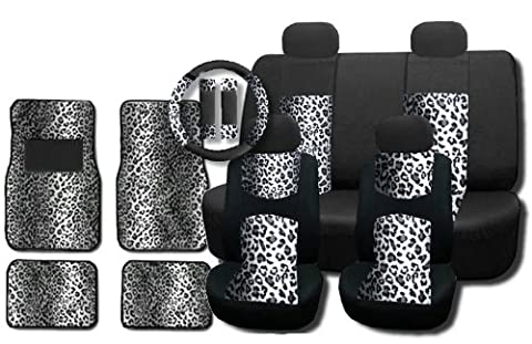 New and Exclusive Mesh Animal Print Accent Interior Set Gray Snow Leopard 15pc Seat Covers Front & Back Lowback, Back Bench, Steering Wheel & Seat Belt Covers - 4pc Floor (Safari Print Seat Covers)