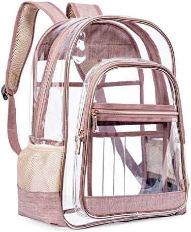 LOKASS Clear Backpack Transparent Multi-Pockets Backpacks Outdoor Backpack Fit 15.6 inch Laptop Safety Travel Rucksack with Rose Gold Trim-Adjustable Straps Rose Gold