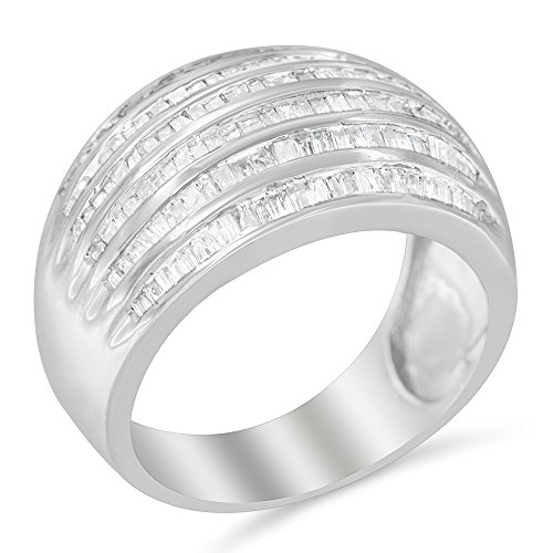 Sterling Silver Multi-row Baguette Diamond Band cocktail Ring (1 cttw, H-I Color, I2-I3 Clarity)